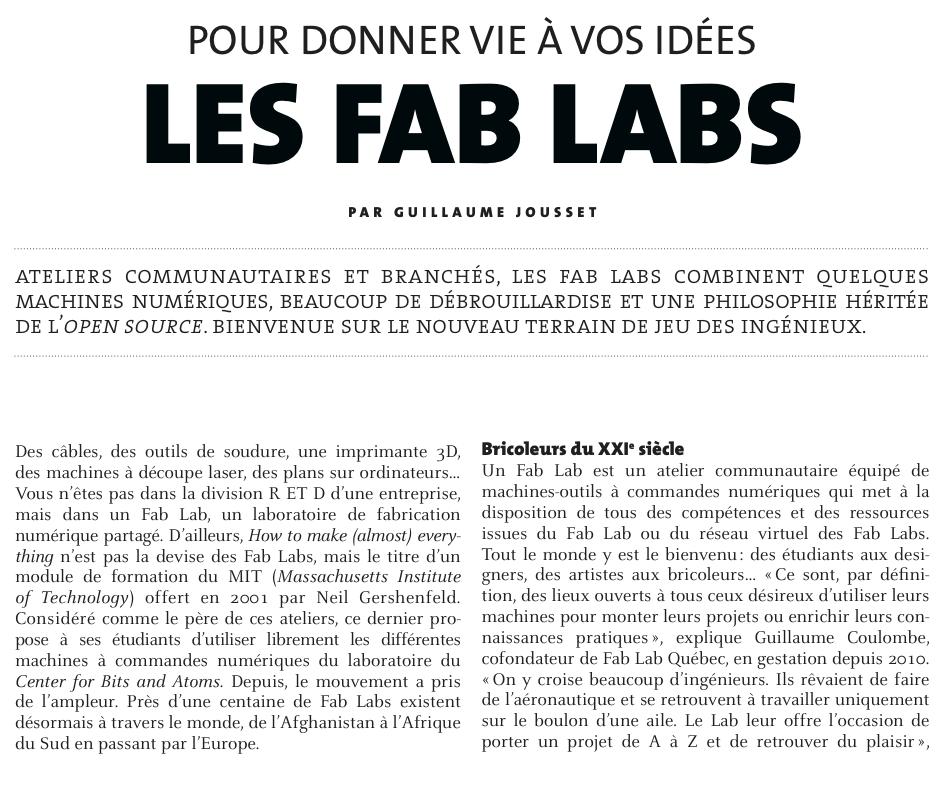 Pour donner vie à vos idées, les fab labs