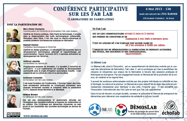 Conference sur les Fab Labs 4 mai 2013